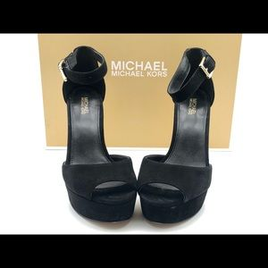 Michael Kors Paloma platform gold heeled pumps